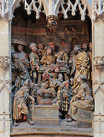 Jesus debating with the moneylenders in a square in Jerusalem, c. 1523, donated by canon Jean Witz, d. 1522 or 1523, high relief from the West side of the North transept of the Basilique Cathedrale Notre-Dame d'Amiens or Cathedral Basilica of Our Lady of Amiens, built 1220-70 in Gothic style, Amiens, Picardy, France. Amiens Cathedral was listed as a UNESCO World Heritage Site in 1981. Picture by Manuel Cohen