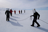 Happy Camper students simulate a rescue in whiteout conditions, Antarctica.