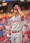 22 May 2015: Philadelphia Phillies outfielder Grady Sizemore steps up to bat during a game against the Washington Nationals at Nationals Park in Washington, DC. The Nationals defeated the Phillies 2-1 in the first game of their 3-game weekend series. Mandatory Credit: Ed Wolfstein Photo *** RAW (NEF) Image File Available ***