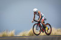 Mirinda Carfrae on the bike at the 2013 Ironman World Championship in Kailua-Kona, Hawaii on October 12, 2013.