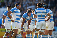 Argentina forwards huddle together during a break in play. Rugby World Cup Pool C match between Argentina and Tonga on October 4, 2015 at Leicester City Stadium in Leicester, England. Photo by: Patrick Khachfe / Onside Images