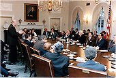 """United States Secretary of State George Shultz, left, briefs a bipartisan group of Congressional leaders in the Cabinet Room on Friday, January 4, 1985.  From right are: United States Senate Minority Leader Robert Byrd (Democrat of West Virginia); United States Senate Majority Leader Robert Dole (Republican of Kansas); President Reagan; Speaker of the United States House of Representatives Thomas P. """"Tip"""" O'Neill (Democrat of Massachusetts); United States House Minority Leader Robert Michel (Republican of Illinois); unidentified; unidentified; U.S. Representative Thomas Foley (Democrat of Washington); U.S. Representative Jack Kemp (Republican of New York); U.S. Representative Dick Gephardt (Deomcrat of Missouri); and others.  Vice President George H.W. Bush is also pictured at left seated next to Shultz..Mandatory Credit: Bill Fitz-Patrick - White House via CNP"""
