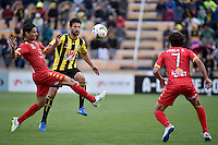 Vince Lia in action during the A League - Wellington Phoenix v Adelaide United at Hutt Recreational Ground, Lower Hutt, New Zealand on Saturday 7 March 2015. <br /> Photo by Masanori Udagawa. <br /> www.photowellington.photoshelter.com.