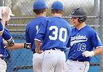 BURLINGTON CT. 24 April 2017-042417SV11-#16 Mike Ciccarelli of Lewis Mills is greeted at the plate after hitting a home run over the left field fence against Terryville High in Burlington Monday. <br /> Steven Valenti Republican-American