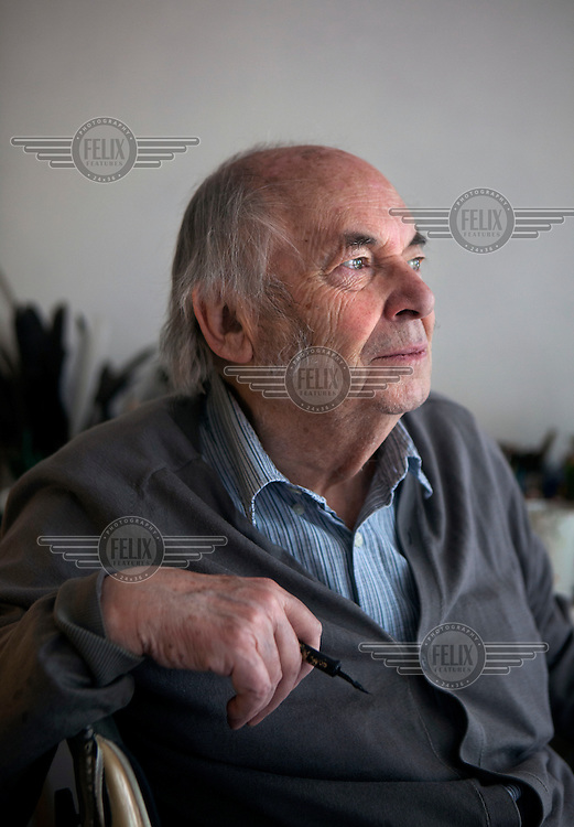 Quentin Blake working on Sunday Times Magazine cover in his studio.