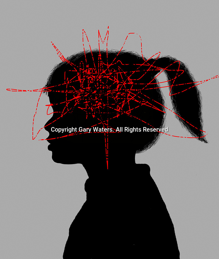 Anxious young girl with squiggly red line inside of head