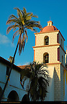 Chapel Tower at Sunset, Mission Santa Barbara, California