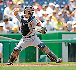 8 June 2008: San Francisco Giants' catcher Steve Holm in action against the Washington Nationals at Nationals Park in Washington, DC. The Giants rallied to defeat the Nationals 6-3 in their third consecutive win of the 4-game series...Mandatory Photo Credit: Ed Wolfstein Photo