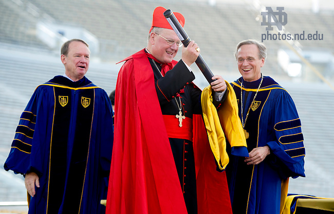 May 19, 2013; Timothy Cardinal Dolan, Archbishop of New York and Commencement speaker, reacts after receiving an honorary doctorate degree at the 2013 Commencement ceremony in Notre Dame Stadium Photo by Barbara Johnston/University of Notre Dame