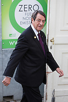 Nicos Anastasiades, Pr&eacute;sident de la R&eacute;publique de Chypre, lors du Sommet statutaire du Parti Populaire Europ&eacute;en (PPE), &agrave; Bruxelles.<br /> Belgique, Bruxelles, 15 d&eacute;cembre 2016<br />  Nicos Anastasiades ( President of Cyprus ) attends the  EPP ( European People&rsquo;s Party ) meeting in Brussels.<br /> Belgium, Brussels, 15 December 2016
