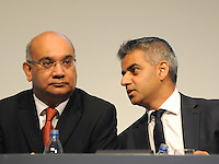 &copy; Licensed to London News Pictures. 28/09/2011. LONDON, UK. (L-R) Keith Vaz MP talks with Sadiq Khan MP, Shadow Justice Secretary, at The Labour Party Conference in Liverpool today (28/09/11). Photo credit:  Stephen Simpson/LNP