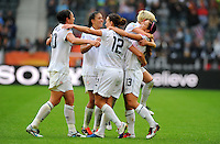 Players of team USA celebrate during the FIFA Women's World Cup at the FIFA Stadium in Moenchengladbach, Germany on July 13th, 2011.
