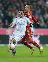 FUSSBALL   1. BUNDESLIGA  SAISON 2012/2013   21. Spieltag  FC Bayern Muenchen - FC Schalke 04                     09.02.2013 Sead Kolasinac (li, FC Schalke 04) gegen Arjen Robben (re, FC Bayern Muenchen)