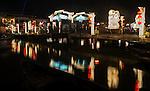 Hoi An pedestrian bridge over the Thu Bon River at night