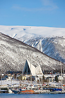 The Arctic Cathedral, Lutheran christian known as Tromsdalen Church, built 1965 architect Jan Inge Hovig at Tromso, Norway
