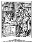 """The Bookworm. """"I want everything you've got about the retreat from Moscow."""" [There is a Geneva report that Hitler has ordered the Paris authorities to hand over all documents relating to Napoleon's Russian Campaign.] (a bedraggled Hitler visits the library of History muse Clio)"""