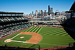 Baseball game at Safeco field with Seattle Skyline on a beautiful summer day