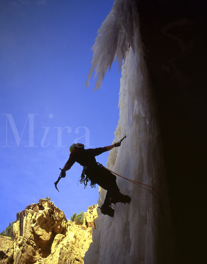Ice Climber Matt Hoskisson poised & ready on the Donorcycle, Utah.