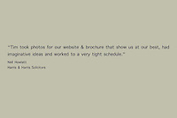 Testimonial for commercial photographic images taken for Harris and Harris solicitors in Frome, Somerset.