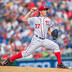 15 June 2016: Washington Nationals starting pitcher Stephen Strasburg on the mound against the Chicago Cubs at Nationals Park in Washington, DC. The Nationals defeated the Cubs 5-4 in 12 innings to take the rubber match of their 3-game series. Mandatory Credit: Ed Wolfstein Photo *** RAW (NEF) Image File Available ***