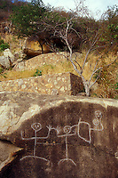 Ancient petroglyphs at Palma Sola archaeological site in Acapulco, Guerrero, Mexico