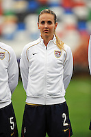 Heather Mitts. The USA defeated Norway 2-1 at Olhao Stadium on February 26, 2010 at the Algarve Cup.