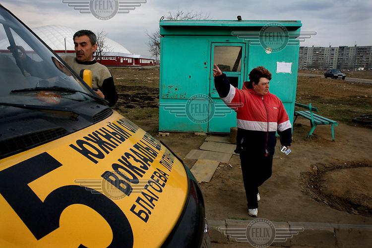 Minibus dispatcher Tatiana Novichkova works in the town of Tver.