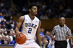 04 November 2014: Duke's Quinn Cook. The Duke University Blue Devils hosted the Livingstone College Blue Bears at Cameron Indoor Stadium in Durham, North Carolina in an NCAA Men's Basketball exhibition game. Duke won the game 115-58.