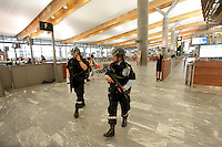 (July22,2010) Armed police at Gardermoen Airport north of Oslo after a large vehicle bomb was detonated near the offices of Norwegian Prime Minister Jens Stoltenberg on 22 July 2011. Although Stoltenberg was reportedly unharmed the blast resulted in several injuries and deaths. <br />
