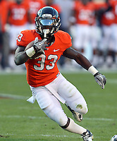 CHARLOTTESVILLE, VA- NOVEMBER 12: Running back Perry Jones #33 of the Virginia Cavaliers runs the ball during the game against the Duke Blue Devils on November 12, 2011 at Scott Stadium in Charlottesville, Virginia. Virginia defeated Duke 31-21. (Photo by Andrew Shurtleff/Getty Images) *** Local Caption *** Perry Jones