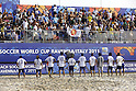 Japan team group (JPN),SEPTEMBER 2, 2011 - Beach Soccer :FIFA Beach Soccer World Cup Ravenna/Italy 2011, Group D match between Japan 2-3 Mexico at Stadio del Mare in Marina di Ravenna, Ravenna, Italy. (Photo by Wataru Kobayakawa/AFLO)