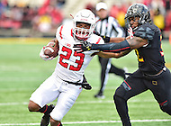 College Park, MD - NOV 26, 2016: Rutgers Scarlet Knights wide receiver Dacoven Bailey (23) stiff arms Maryland Terrapins linebacker Jermaine Carter Jr. (23) during game between Maryland and Rutgers at Capital One Field at Maryland Stadium in College Park, MD. Maryland defeated Rutgers 31-13. (Photo by Phil Peters/Media Images International)