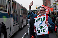 Fast Food Workers Take part during a rally in Harlem in New York , April 04, 2013. VIEWpress /Kena Betancur