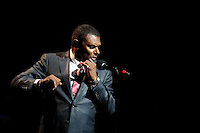 """New York, United States. 23th March 2014 - Salsa singer Jose Alberto """"El Canario"""" performs during a special concert to commemorate the life and legacy of Celia Cruz at the Apollo theater in Harlem, New York. Photo by Eduardo Munoz Alvarez/VIEW"""