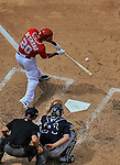 22 June 2014: Washington Nationals shortstop Ian Desmond in action against the Atlanta Braves at Nationals Park in Washington, DC. The Nationals defeated the Braves 4-1 to split their 4-game series and take sole possession of first place in the NL East. Mandatory Credit: Ed Wolfstein Photo