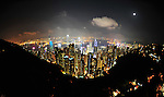 Night has fallen, and the city twinkles.  Hong Kong as seen from Victoria Peak.