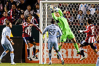 Sporting KC goalkeeper Jimmy Nielsen (1) saves a ball & possible goal. Sporting KC defeated CD Chivas USA 3-2 at Home Depot Center stadium in Carson, California on Saturday March 19, 2011...
