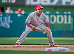 23 May 2015: Philadelphia Phillies infielder Maikel Franco in action at third base against the Washington Nationals at Nationals Park in Washington, DC. The Phillies defeated the Nationals 8-1 in the second game of their 3-game weekend series. Mandatory Credit: Ed Wolfstein Photo *** RAW (NEF) Image File Available ***