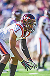 2 November 2013: Virginia Tech Hokies cornerback Antone Exum (1) sets up on the line in the second quarter against the Boston College Eagles at Alumni Stadium in Chestnut Hill, MA. Mandatory Credit: Ed Wolfstein-USA TODAY Sports *** RAW (NEF) Image File Available ***