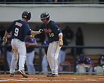 Ole Miss' Auston Bousfield (9) hits a two run home run vs. Lipscomb at Oxford-University Stadium in Oxford, Miss. on Saturday, March 9, 2013. Ole Miss won 8-5. The win was the 486th for Mike Bianco as the Rebel head coach, making him the university's all time winningest baseball coach.