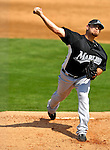 28 February 2007: Florida Marlins' pitcher Ricky Nolasco on the mound during a pre-season Grapefruit League game against the St. Louis Cardinals on Opening Day for Spring Training at Roger Dean Stadium in Jupiter, Florida. The Cardinals and Marlins share Roger Dean Stadium and the training facilities which opened in 1998 as a co-development between the Cardinals and the Montreal Expos.<br /> <br /> Mandatory Photo Credit: Ed Wolfstein Photo