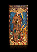 Gothic altarpiece of Saint Catarina (Catherine), 3rd quarter of the 15th century, tempera and gold leaf on for wood.  National Museum of Catalan Art, Barcelona, Spain, inv no: MNAC   114746-7. Against a black background.