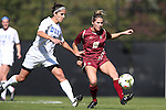 26 October 2014: Boston College's Rosie DiMartino (19) and Duke's Gilda Doria (21). The Duke University Blue Devils hosted the Boston College University Eagles at Koskinen Stadium in Durham, North Carolina in a 2014 NCAA Division I Women's Soccer match. Duke won the game 2-1 in overtime.