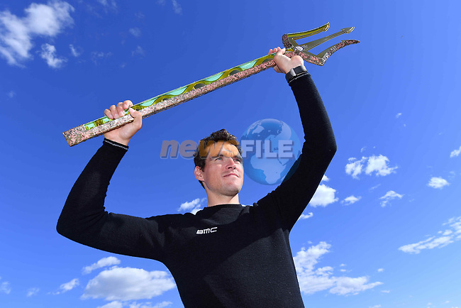 Greg Van Avermaet (BEL) BMC Racing Team holds the winners trophy aloft at the top riders press conference on the eve of the race of the two seas, 52nd Tirreno-Adriatico by NamedSport running from the 8th to 14th March, Italy. 7th March 2017.<br /> Picture: La Presse/Gian Mattia D'Alberto | Cyclefile<br /> <br /> <br /> All photos usage must carry mandatory copyright credit (&copy; Cyclefile | La Presse)