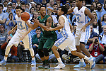 16 December 2015: Tulane's Louis Dabney (0) and North Carolina's Marcus Paige (5). The University of North Carolina Tar Heels hosted the Tulane University Green Wave at the Dean E. Smith Center in Chapel Hill, North Carolina in a 2015-16 NCAA Division I Men's Basketball game. UNC won the game 96-72.