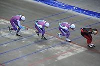 SCHAATSEN: HEERENVEEN: 16-06-2014, IJsstadion Thialf, Zomerijs training, Gerard van Velde (trainer), Jesper Hospes, Kai Verbij, Mark Tuitert, ©foto Martin de Jong