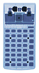 X-ray image of a calculator (blue on white) by Jim Wehtje, specialist in x-ray art and design images.