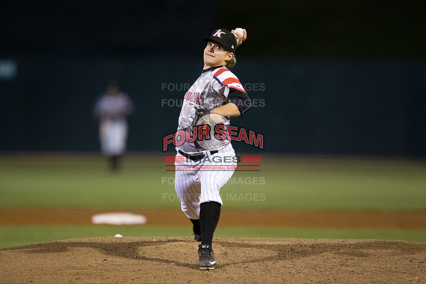Kannapolis Intimidators relief pitcher Ben Wright (16) in action against the Lakewood BlueClaws at Kannapolis Intimidators Stadium on April 7, 2017 in Kannapolis, North Carolina.  The BlueClaws defeated the Intimidators 6-4.  (Brian Westerholt/Four Seam Images)