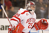 Matt O'Connor (BU - 29) - The Northeastern University Huskies defeated the Boston University Terriers 3-2 in the opening round of the 2013 Beanpot tournament on Monday, February 4, 2013, at TD Garden in Boston, Massachusetts.