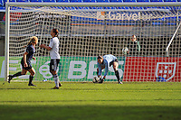 Hope Solo makes a save.  The USA captured the 2010 Algarve Cup title by defeating Germany 3-2, at Estadio Algarve on March 3, 2010.